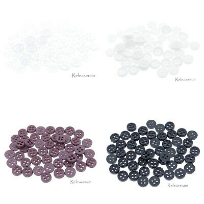 6mm 4-Hole DIY Craft Doll Clothes Mini Sewing Plastic Buttons with Rim 50pcs