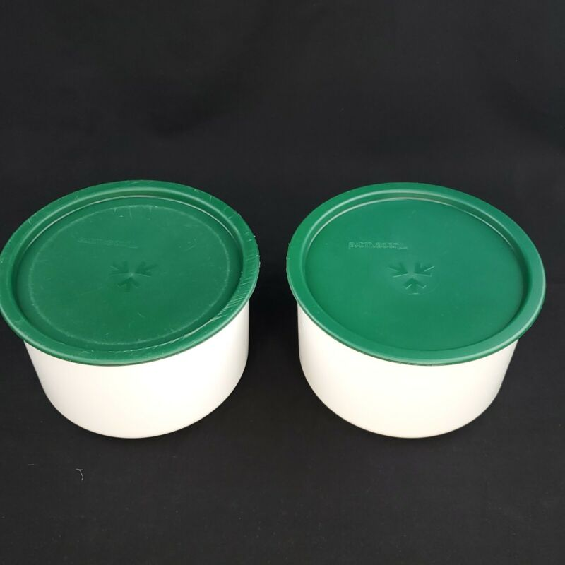 Set of 2 Tupperware One Touch Canister 2709 Green Lid C Coffee Canisters