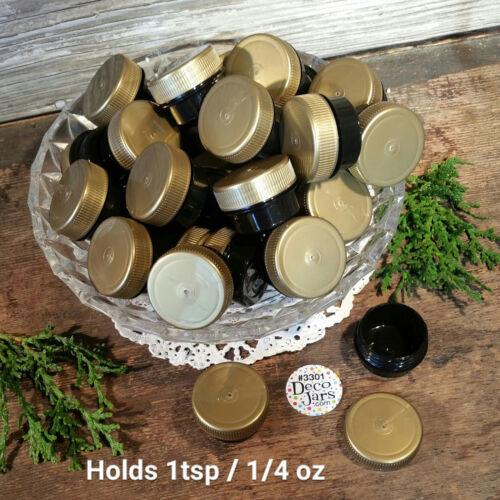 20 Mini Black Plastic poly JARS 1/4oz Pot Container Bottle Gold Cap DecoJars USA