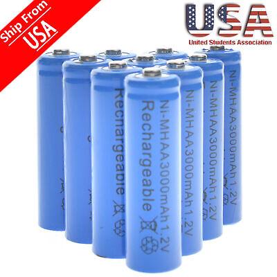 20 AA Rechargeable Batteries NiMH 3000mAh 1.2v Garden Solar Ni-MH Light LED USA ()