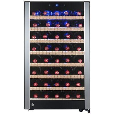52 Bottle Freestanding Single Zone Adjustable Electric Compressor Wine Cooler