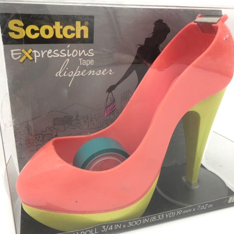Scotch Tape Dispenser High Heel Shoe Orange Blue plus 1 Scotch Expressions Roll