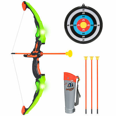 BCP Kids 24in Light-Up Archery Toy Play Set w/ Bow, 3 Arrows, Quiver, Target