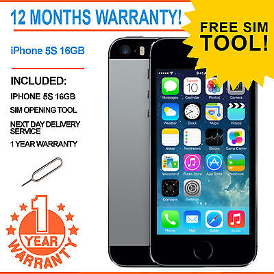 Apple iPhone 5s 16GB Factory Unlocked - Space Grey - ADD YOUR FREE SIM!