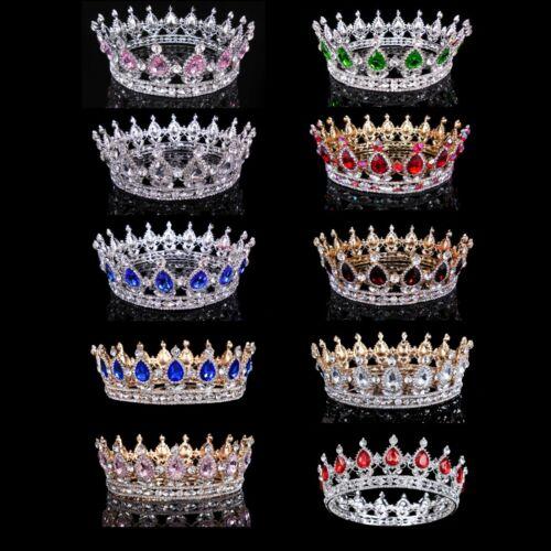 5cm High Princess Queen Round Crown Wedding Tiara 18 Colors 13cm Diameter