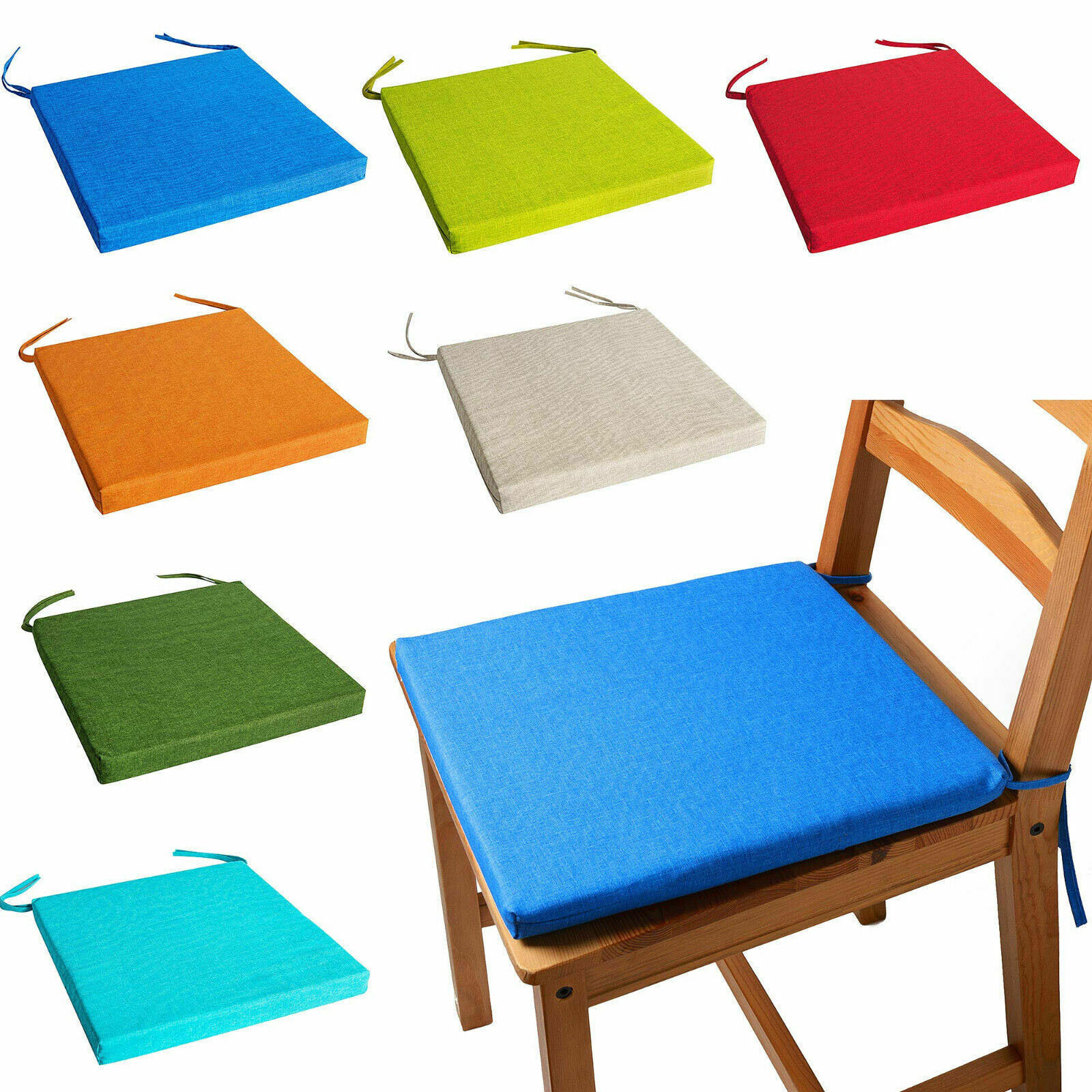 Garden Outdoor Cushion Seat Pad Tie On Chair Removable Square Shape Pads 1/2/4/6 | EBay