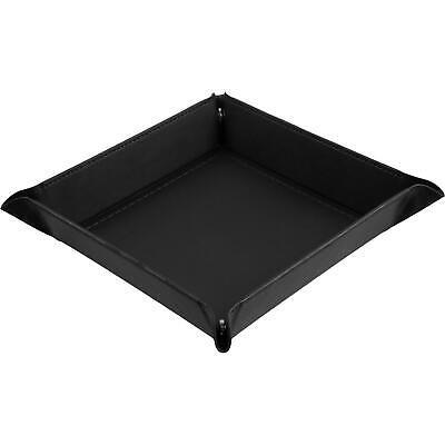 shibby - faltbare Würfelschale, Würfelunterlage aus Kunstleder schwarz - 22x22cm