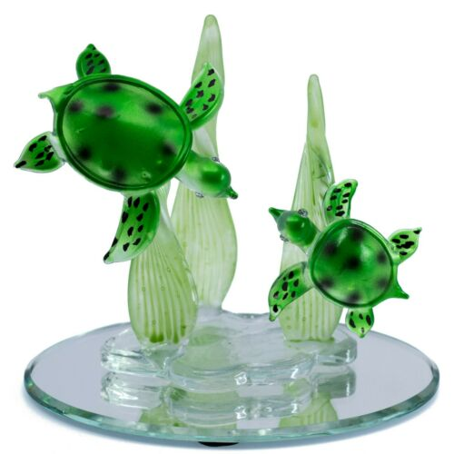 """Hand Blown Glass Sea Turtles Figurine On Beveled Glass Oval Base 4"""" Long New"""