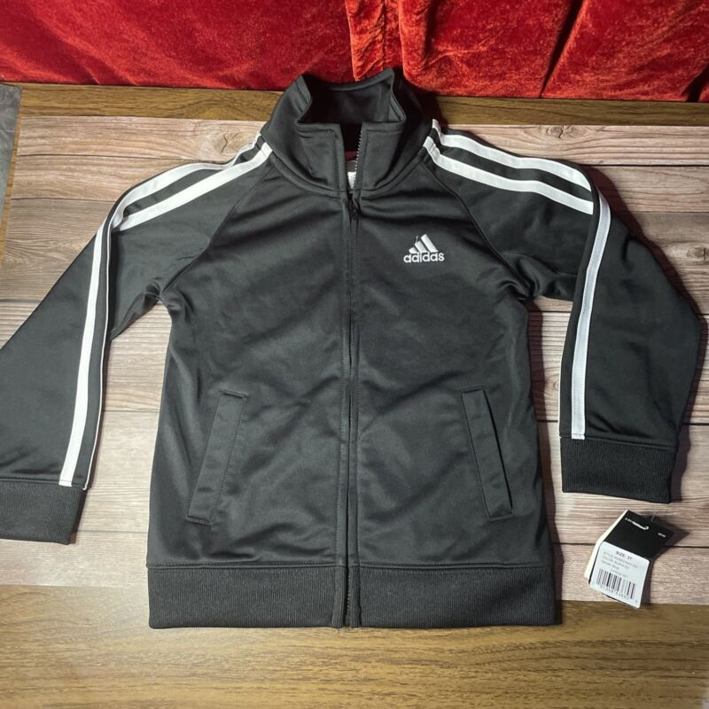Adidas 3T Embroidery On Back 3 Stripe Track Jacket Warm Up Black Toddler Zip