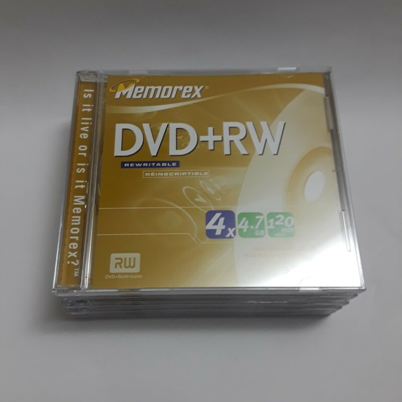 Memorex DVD + RW Rewritable Discs 4.7GB 120 Minute Video Lot of 5