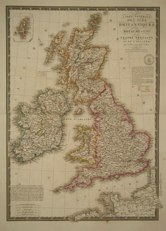 1828 Genuine Antique hand colored map of the British Isles. by A.H. Brue