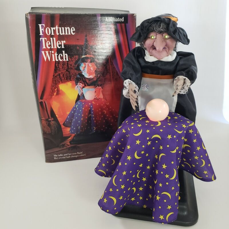 """Fortune Teller Witch Crystal Ball Vtg Halloween Decor 16"""" Animated Lighted 1994"""