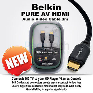 Belkin PureAv HDMI Audio Video Cable High Speed 24K Gold Plated 3m HD1080p New