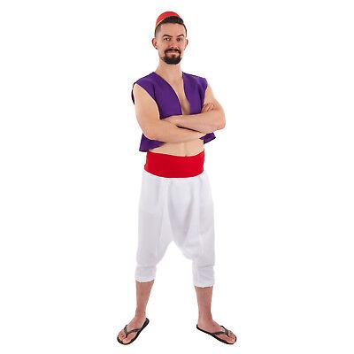 Desert Prince Aladdin Arabian Nights Whole Costume Hat Vest Sash Pants Mens - Arabian Mens Costume