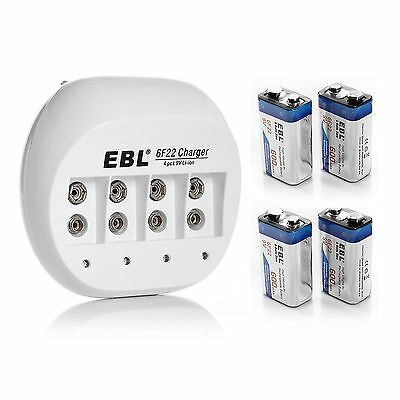 EBL 4x 600mAh 9V Li-ion Rechargeable Batteries + 9 VOLT Battery Charger on Rummage