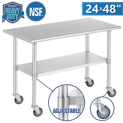 Commercial 24 X 48 Stainless Steel Kitchen Prep Work Table W 4 Casters Nsf