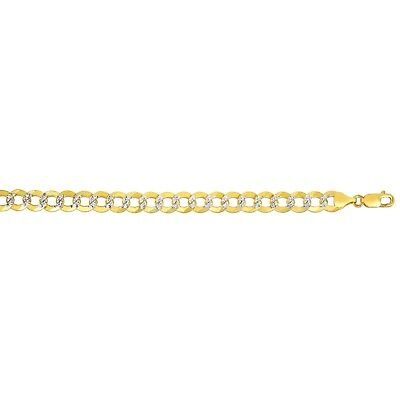 """14KT Solid Yellow+White Gold PAVE Curb Link 8.5""""  9.7 MM 18 GRMS Chain/Bracelet"""
