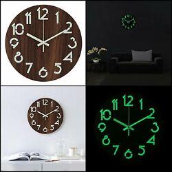 Illuminated Wooden Wall Clock Glow In Dark Silent Non-Ticking Quartz Decorative