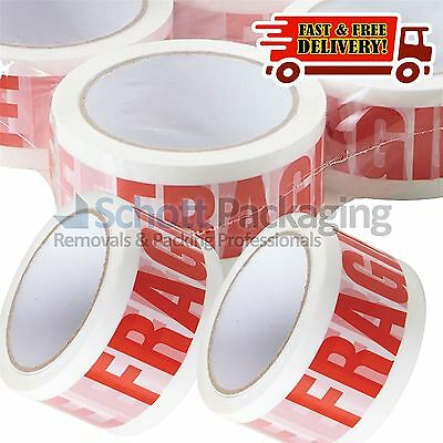 72 Rolls of LOW NOISE HANDLE WITH CARE FRAGILE Packing Tape - 48mm x 66M STRONG