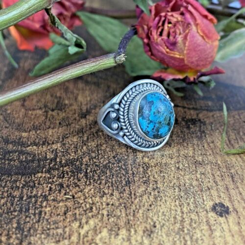 Vintage Old Pawn Native Navajo Rope Sterling Silver Domed Turquoise Ring 6.25