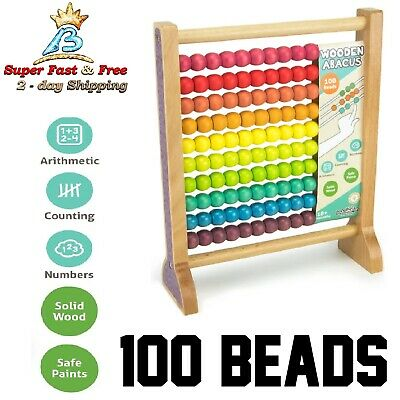 Abacus Classic Chinese Counting Tool Educational Math Toy 100 Beads Wood Frame