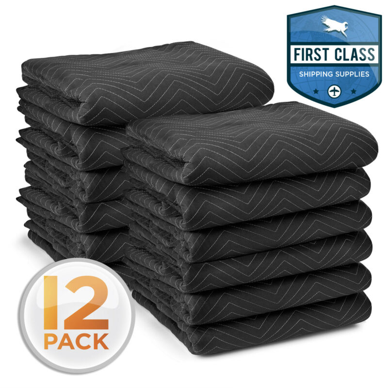 "Moving Blankets 80"" x 72"" Pro Economy - 12 Pack - Black Shipping Furniture Pads"