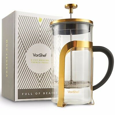 VonShef 1 Liter Earnestness-resistant French Press Cafetiere Coffee Maker Glass 8 Cup