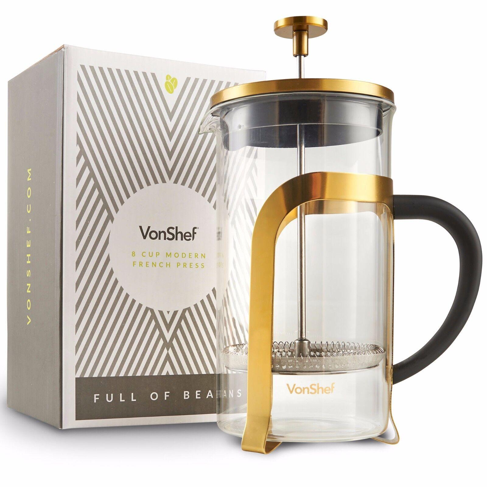 VonShef 1 Liter Heat-resistant French Press Cafetiere Coffee