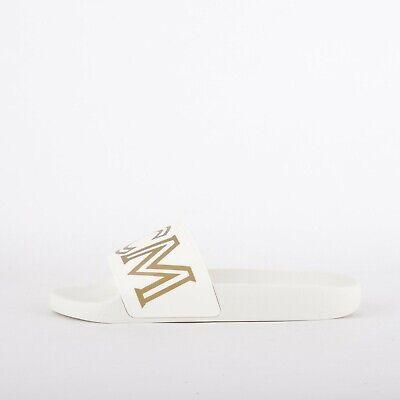 Womens MCM Logo Rubber White Sliders (LF1) RRP £175.99