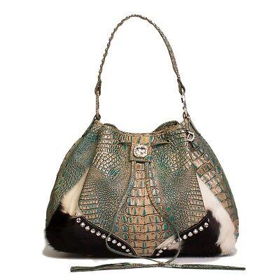 Raviani Turquoise Croco Leather Handbag W/ Brindle Drawstring W/ Crystals