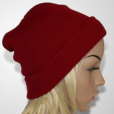 Skimütze Beanie Unisex Strickmütze Damen Wintermütze Herren Wollmütze Rot