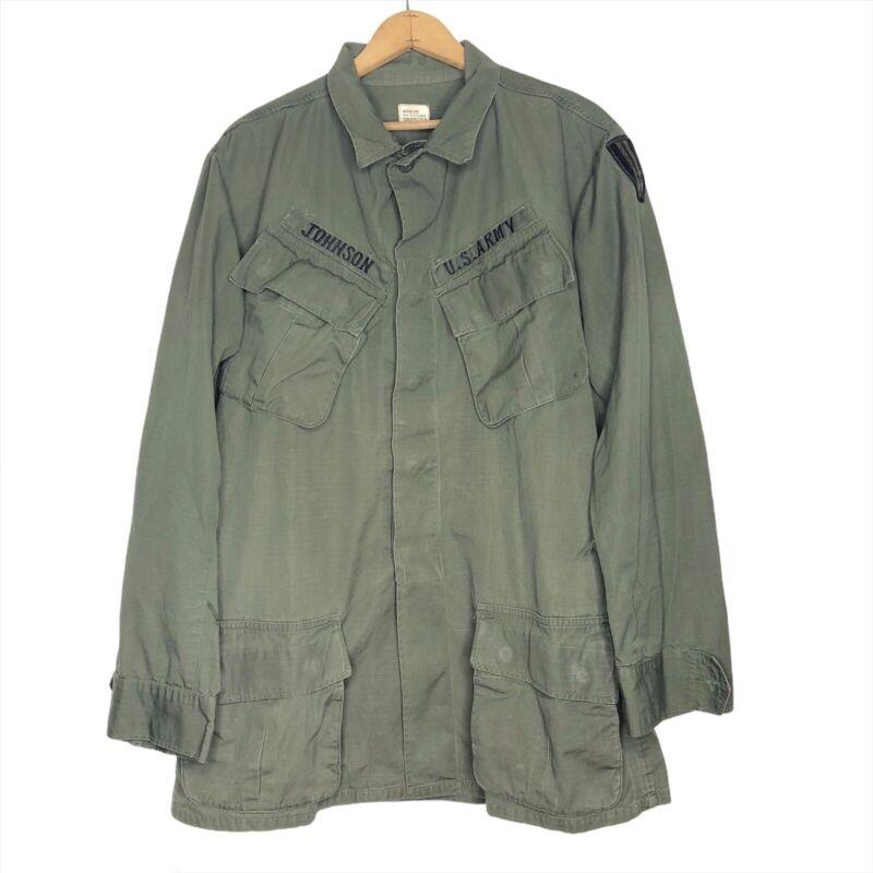 Vintage U.S. Army Vietnam Jungle Jacket Rip Stop poplin OG-107 Slant Pocket