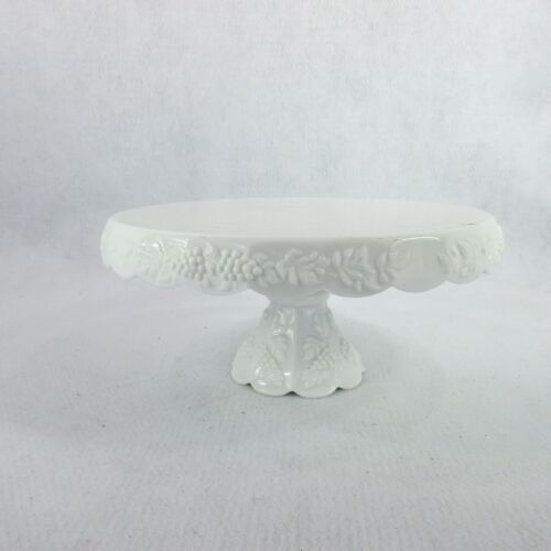 Vintage Milk Glass Paneled Grape Skirted Pedestal CAKE STAND W/ Bell Foot