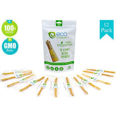 (12 Miswak Sticks | Eco Friendly 100% Natural Toothbrush | Sewak Peelu Meswak)