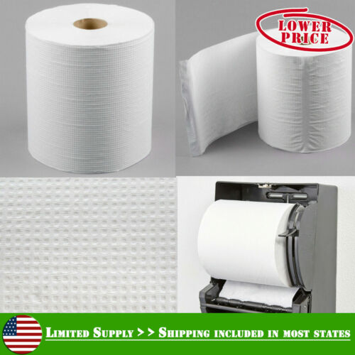 "8"" Paper Towel Dispenser Roll Standard White Hardwound 800 Feet / Roll - 6/Case"