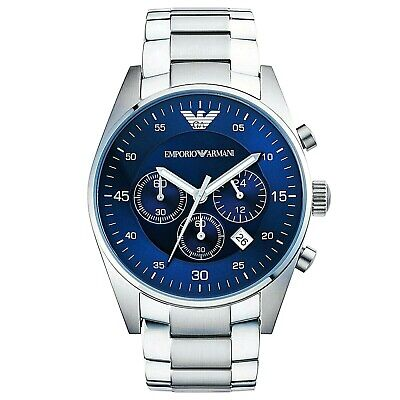 New Emporio Armani Mens watch with blue dial stainless steel strap AR5860