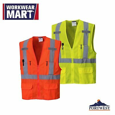 Portwest Atlanta Hi-vis Vest Us370 In Mesh Fabric With 2 Reflective Tape