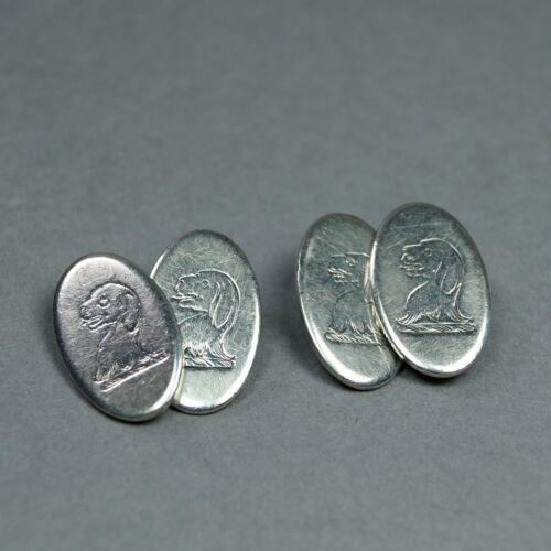 Georgian Silver Talbot Dog Cufflinks Buttons CHITTY Family Crest English C 1820