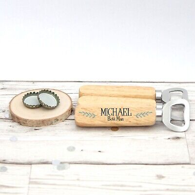 Personalised Wooden Bottle Opener Stocking Filler Best Man Gift Groomsman (Best Stocking Fillers For Men)