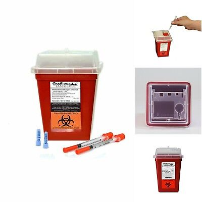 1-quart Sharps And Biohazard Disposal Container Needles Syringes Trash Bin
