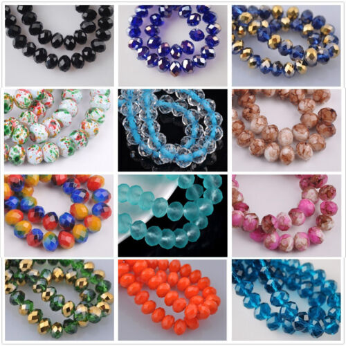 Beads - 72pcs 8mm Rondelle Faceted Crystal Glass Loose Spacer Beads Findings 234 Colors