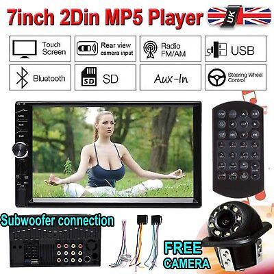 "7"" Double Car Radio Stereo MP5 MP3 Player 2Din Bluetooth FM AUX USB Head Unit UK"