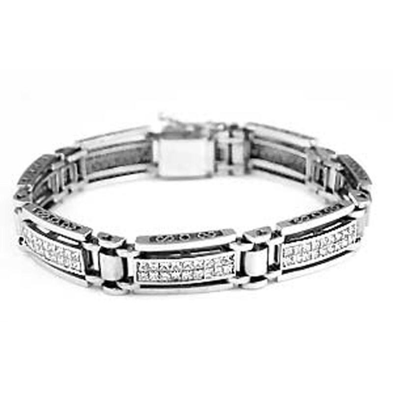 mens white gold diamond bracelet ebay. Black Bedroom Furniture Sets. Home Design Ideas