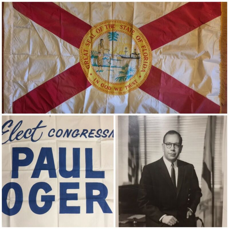 WWII SILK FLORIDA STATE FLAG; ANNIN US HOUSE OF REP FLAG 1945 SOUTHERN MANIFESTO