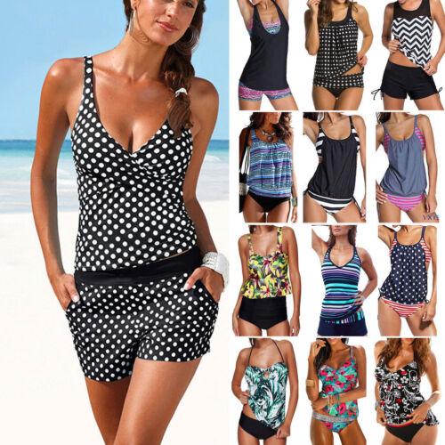Damen Tankini Bikini Set Push Up Badeanzug Bademode Schwimmanzug Übergröße S-3XL