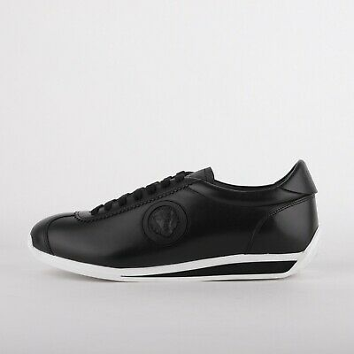 Mens Versus Versace Badge Runner Matt Black/White Trainers (LF1) RRP £279.00