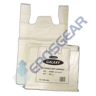 100 Jumbo Plain White Vest Style Shopping Plastic Carrier Bags 13
