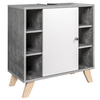 EUGAD Badschrank Waschbeckenunterschrank Waschtisch MDF Weiß & Grau 0119WY