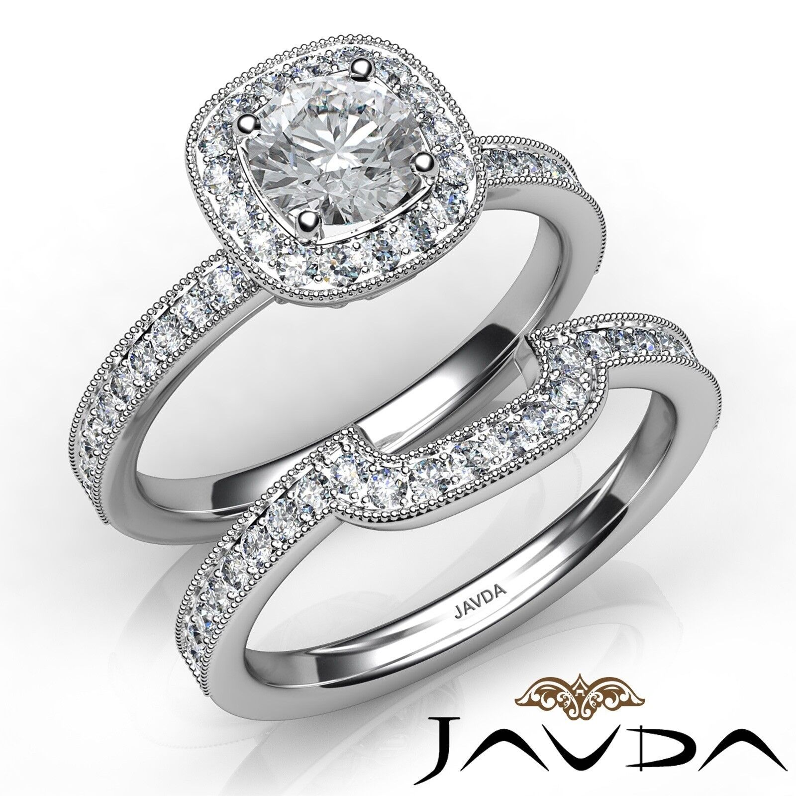 1.4ctw Milgrain Halo Bridal Round Diamond Engagement Ring GIA F-VVS2 White Gold