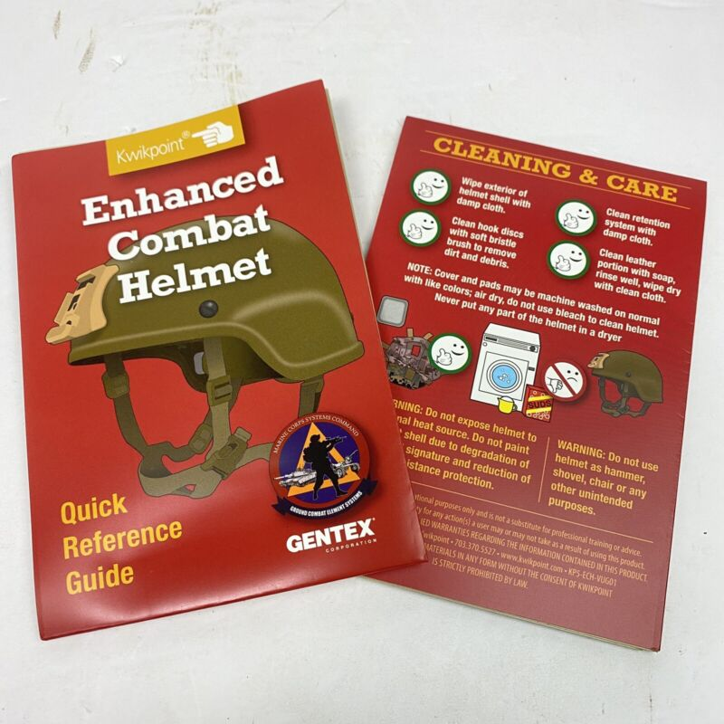 New ECH Enhanced Combat Helmet Operator Technical Manual Owners Guide Reference